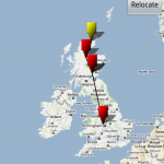 The parcel tracking map view, giving a visual guide to location of your package.
